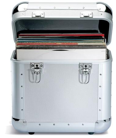 record: silver records lp dj box on a white background Stock Photo