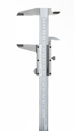 duel: a duel scale vernier measuring calipers on a white background Stock Photo