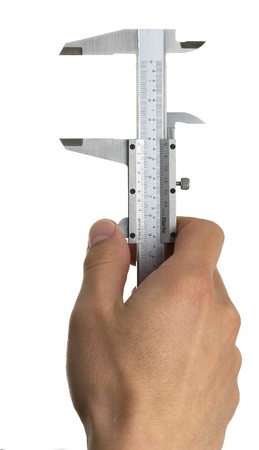 a pair of vernier calipers with a hand on a white background