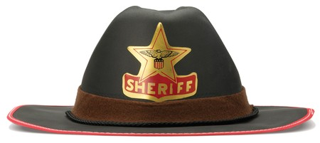 dressing up: childrens sheriff cowboy dressing up hat on a white background
