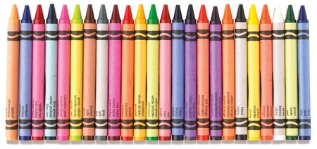 colorful row of crayons on a white background Stock Photo