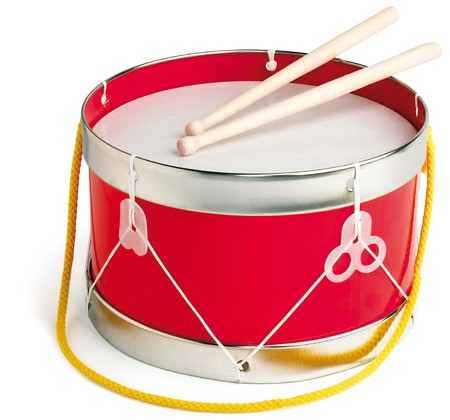 Drum and drum sticks on white background Stock Photo