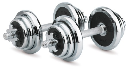 Dumbbells on white background Stock Photo
