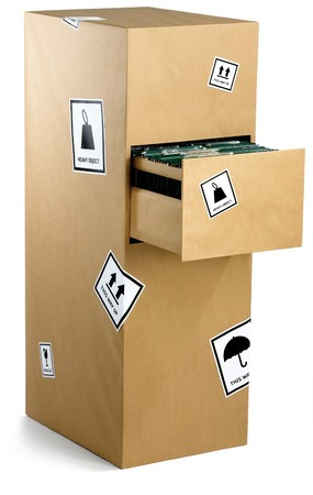 a filing cabinet wrapped up in brown paper Stock Photo