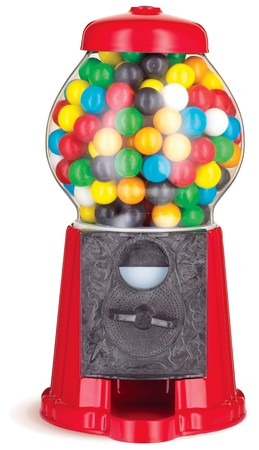 colorful gumball chewing gum dispenser machine on a white background photo