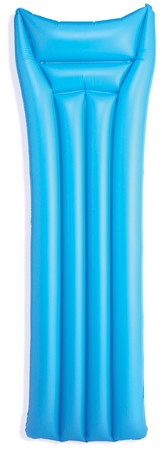 blue blow up lilo inflatablebed on a white background