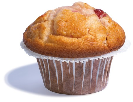 tasty, cherry muffin on a white background from the side Stock Photo