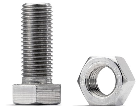 nut and bolt on a white background from the side Stock Photo