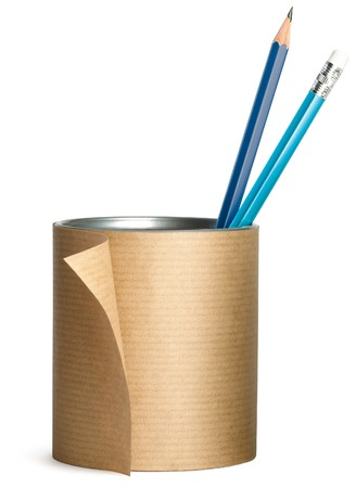 a pen, pencil pot wrapped up in brown paper Stock Photo