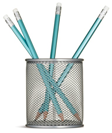 blue pencils in a silver pencil pot on a white background Stock Photo