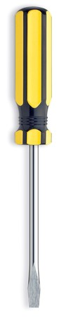 slotted: yellow and black slotted screw driver screwdriver on a white background