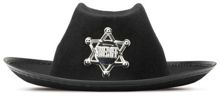childrens sherriff dressing up hat on a white background