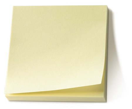 yellow post it note sticky memo pad on a white background photo