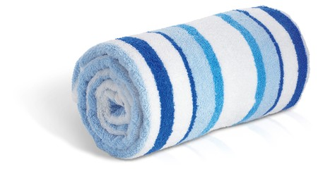 rolled up blue and white beach towel on a white background Stock Photo