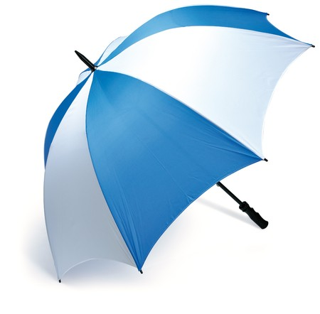 blue and white golf umbrella on a white background