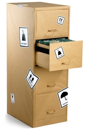 flit: a filing cabinet wrapped up in brown paper Stock Photo