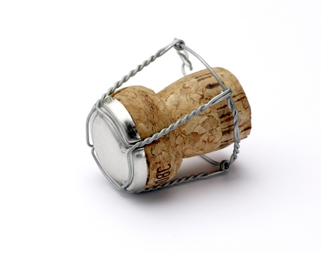 a champagne cork shallow dof with clipping path isolated on white