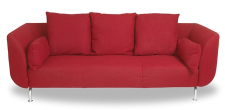 red sofa: a comfy red couch sofa isolated on white with clipping path