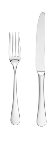 an overhead shot of a chrome silver knife and fork isolated on white with paths