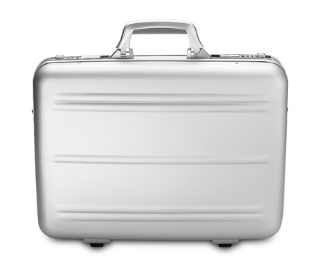metalic: a side view modern silver briefcase isolated on white  clipping path