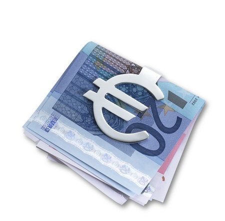 a silver euro money clip  and folded euros with clipping path at an angle