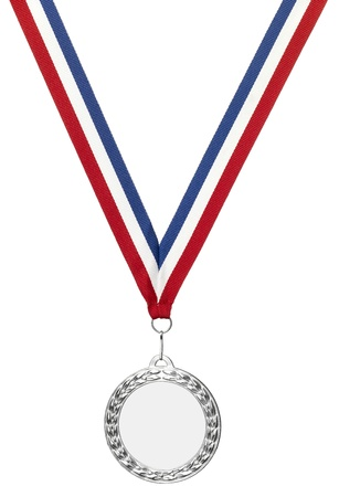 a Silver sports medal blank with clipping path and copyspace