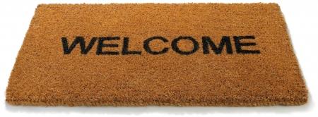 a  hessian welcome mat matt on a white background