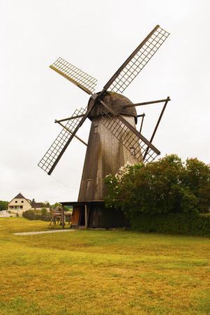 millstone: Windmills of island Saaremaa Estonia
