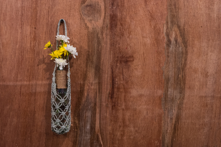 interior walls: Flowers in vase with wooden background Stock Photo