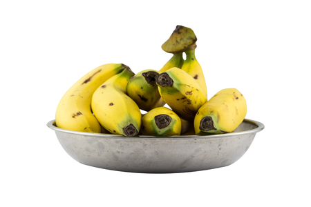 Bananas in metal tray isolated on white background Stock Photo