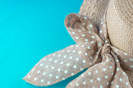 rivets: Top view of beach summer hat with ribbon and copy space Stock Photo