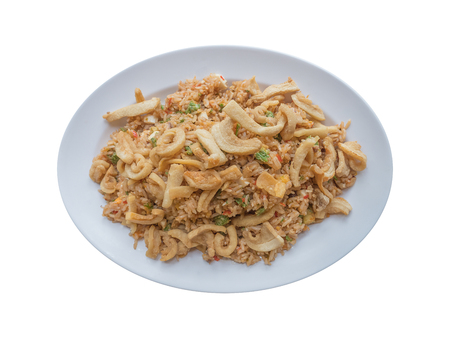 Thai spicy shrimp paste fried rice isolated on white background. Banco de Imagens