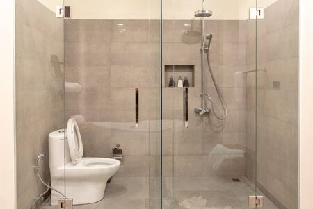 Interno del bagno moderno con divisorio in vetro trasparente. Doccia e wc in stile contemporaneo.