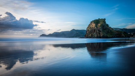 Lion Rock, Piha Beach  Auckland, NEW ZEALAND 免版税图像