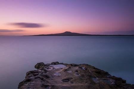 new zealand: Rangitoto Island at Sunset  Auckland, NEW ZEALAND