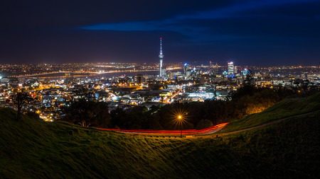 View of Auckland City at Night from Mt Eden Summit  Auckland, NEW ZEALAND