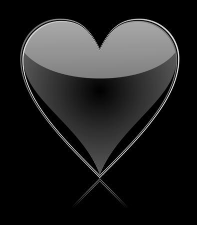 Black glass heart Stock Vector - 8715950