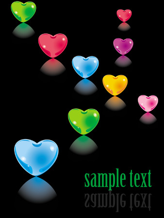 Background. Colour glass hearts Vector