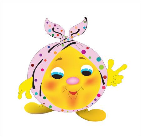 The yellow cheerful hero of a cartoon film
