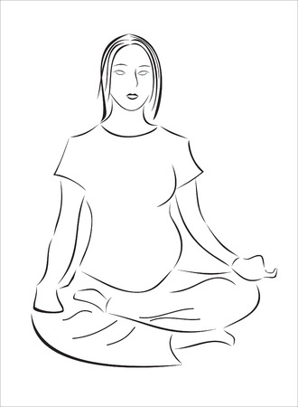 zwangerschapsyoga: Silhouette. An image of the pregnant girl engaged yoga Stock Illustratie