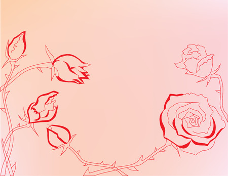 Abstract background with red roses Illustration
