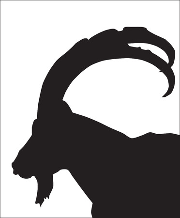 Abstraction. A silhouette of a mountain goat Vector