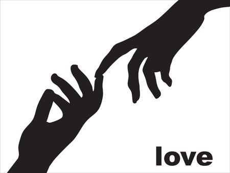 Silhouette of a female and mans hand Vector