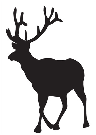 Abstraction. A silhouette of a going elk Vector