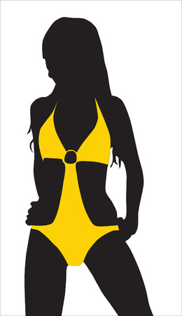 Abstraction. A silhouette of the girl in a yellow bathing suit