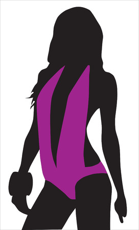 Abstraction. A silhouette of the girl in a lilac bathing suit