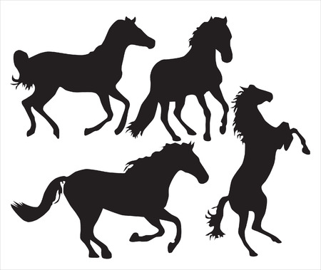 hoofs: Abstraction. Silhouettes of black horses in different poses Illustration