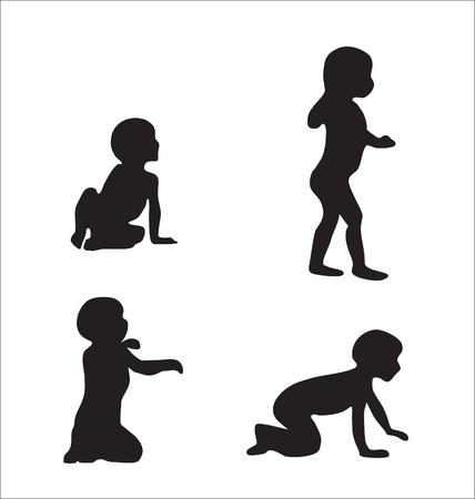 Silhouettes of kids in various poses Stock Vector - 9081209