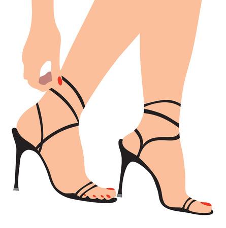piernas de mujer: Piernas femeninas en moda personas descalzas negras Vectores
