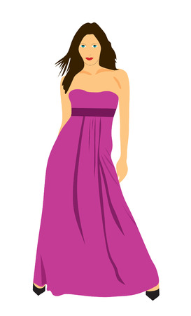 The beautiful girl in a lilac dress and shoes Stock Vector - 9081212